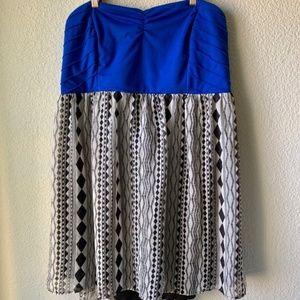 Torrid Blue Strapless Abstract Print Dress Size 24